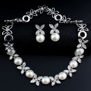 2919 Necklace Earrings Simulated Pearl Jewelry Set